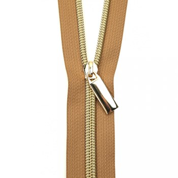 Sallie Tomato 108'' Zipper by the Yard + 9 Pulls - Gold, Natural Tape