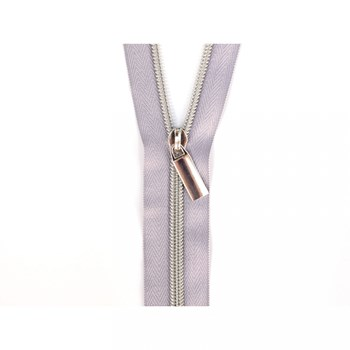 Sallie Tomato 108'' Zipper by the Yard + 9 Pulls - Silver, Grey Tape