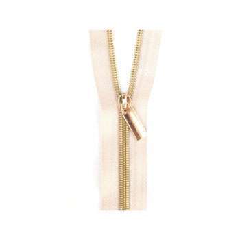 Sallie Tomato 108'' Zipper by the Yard + 9 Pulls - Gold, Beige Tape