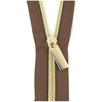 Sallie Tomato 108'' Zipper by the Yard + 9 Pulls - Gold, Brown Tape
