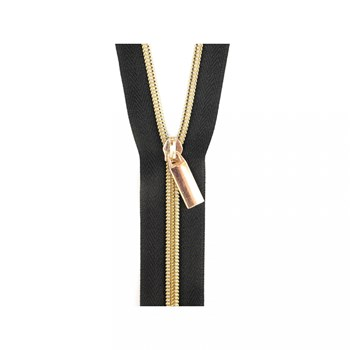 Sallie Tomato 108'' Zipper by the Yard + 9 Pulls - Gold, Black Tape