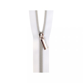 Sallie Tomato 108'' Zipper by the Yard + 9 Pulls - Silver, White Tape
