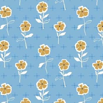 Stencil Flowers RAYON in Blue