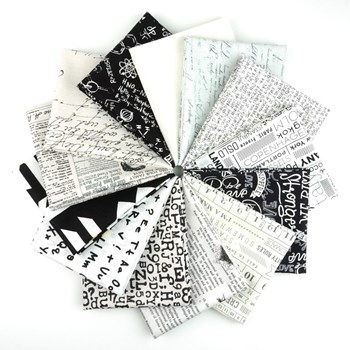 Text in Black and White Fat Quarter Bundle