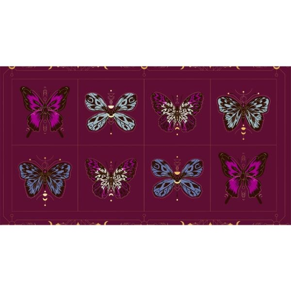 "Tiger Fly Gossamer 24"" PANEL - Purple Velvet"