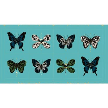 "Tiger Fly Gossamer 24"" PANEL - Turquoise"