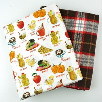 Whole Cloth Quilt Kit  - Fall Treats and Mammoth Flannel in Redwood