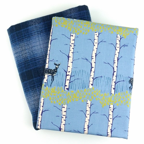 Whole Cloth Quilt Kit  - Fawn Forest and Mammoth Flannel in Royal