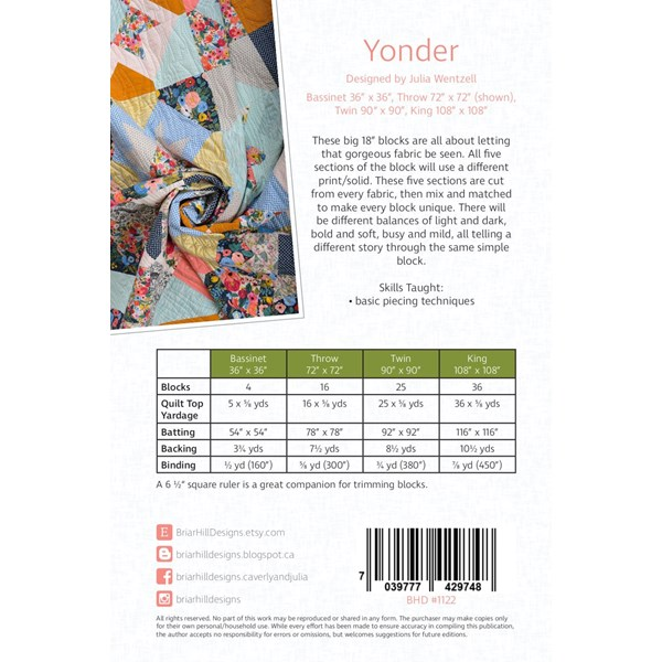 Yonder Quilt Pattern by  Briar Hill Designs